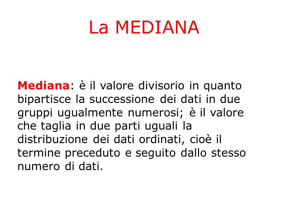 La MEDIANA Mediana: è il valore divisorio in quanto bipartisce la successione dei dati in due gruppi ugualmente numerosi; è il valore che taglia in due parti uguali la distribuzione dei dati ordinati, cioè il termine preceduto e seguito dallo stesso numero di dati.