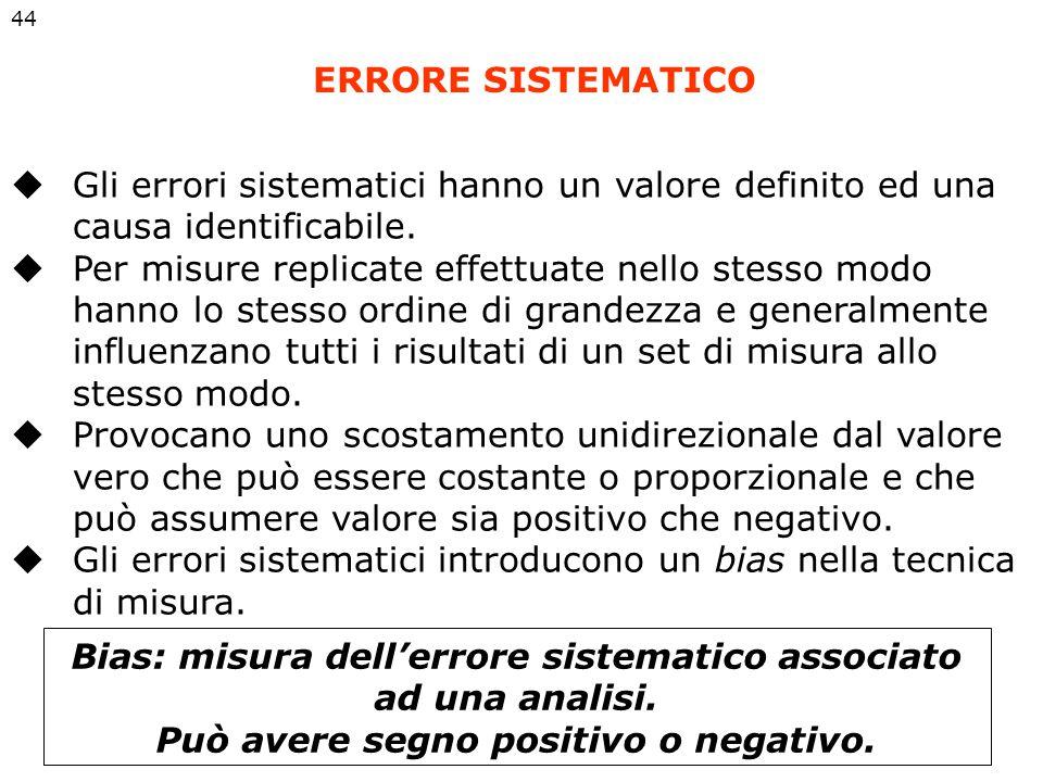 ERRORE SISTEMATICO 44  Gli errori sistematici hanno un valore definito ed una causa identificabile.