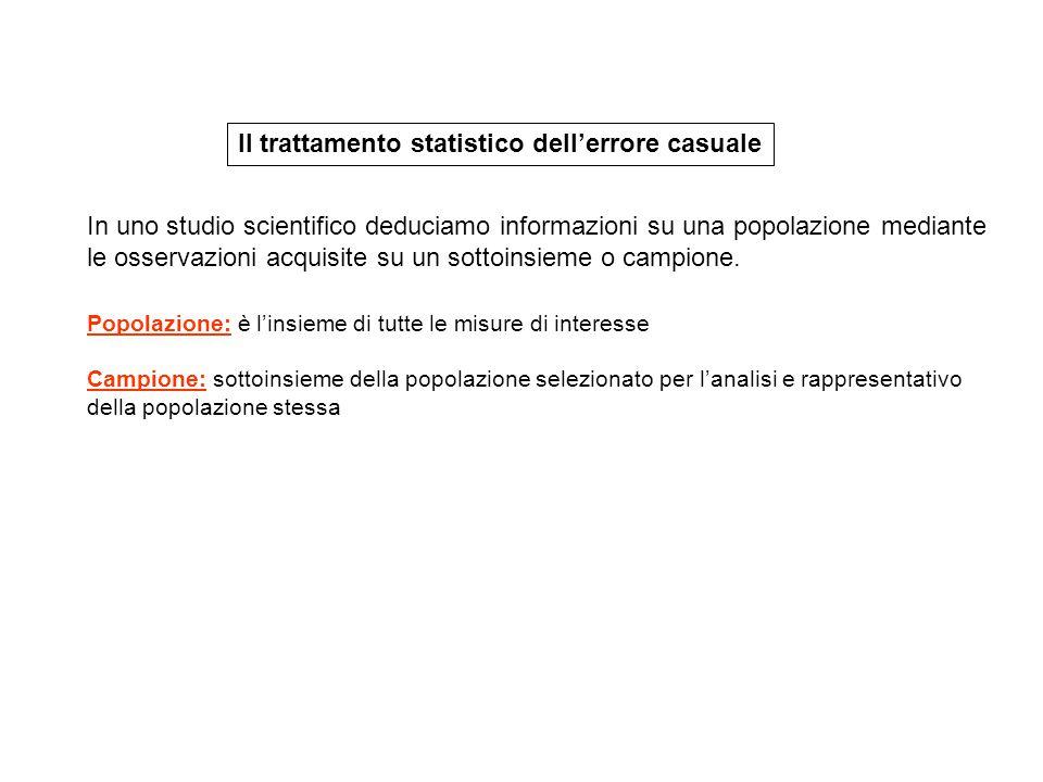 Il trattamento statistico dell'errore casuale Popolazione: è l'insieme di tutte le misure di interesse Campione: sottoinsieme della popolazione selezi