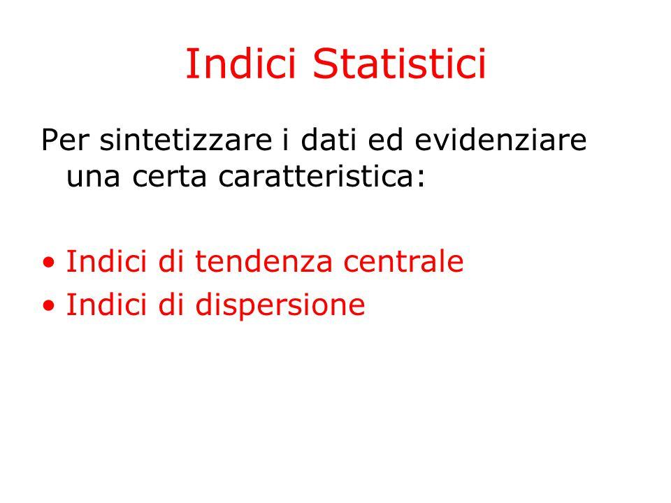 Indici Statistici Per sintetizzare i dati ed evidenziare una certa caratteristica: Indici di tendenza centrale Indici di dispersione