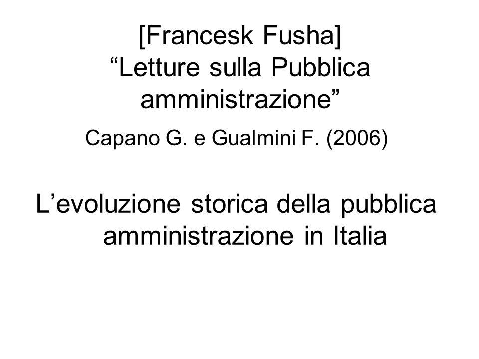 [Francesk Fusha] Letture sulla Pubblica amministrazione Capano G.