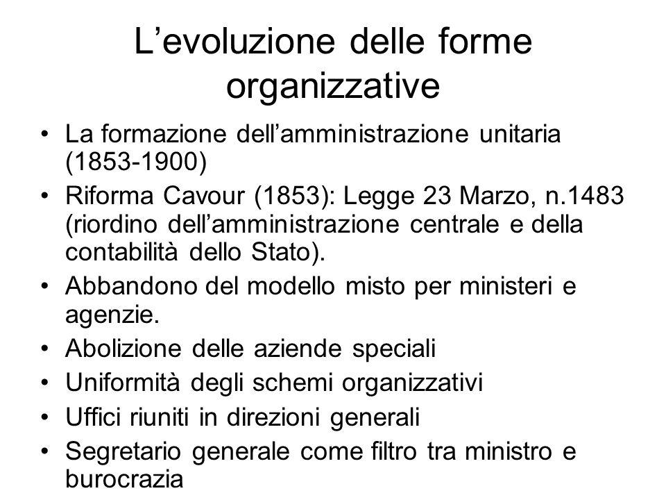 L'evoluzione delle forme organizzative La formazione dell'amministrazione unitaria (1853-1900) Riforma Cavour (1853): Legge 23 Marzo, n.1483 (riordino dell'amministrazione centrale e della contabilità dello Stato).