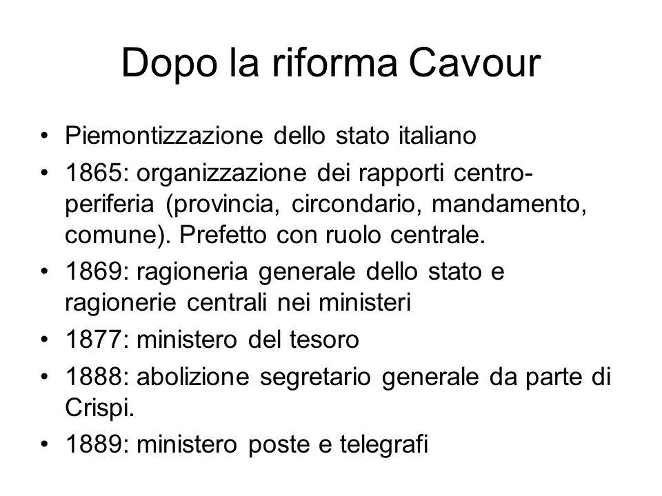 Dopo la riforma Cavour Piemontizzazione dello stato italiano 1865: organizzazione dei rapporti centro- periferia (provincia, circondario, mandamento, comune).