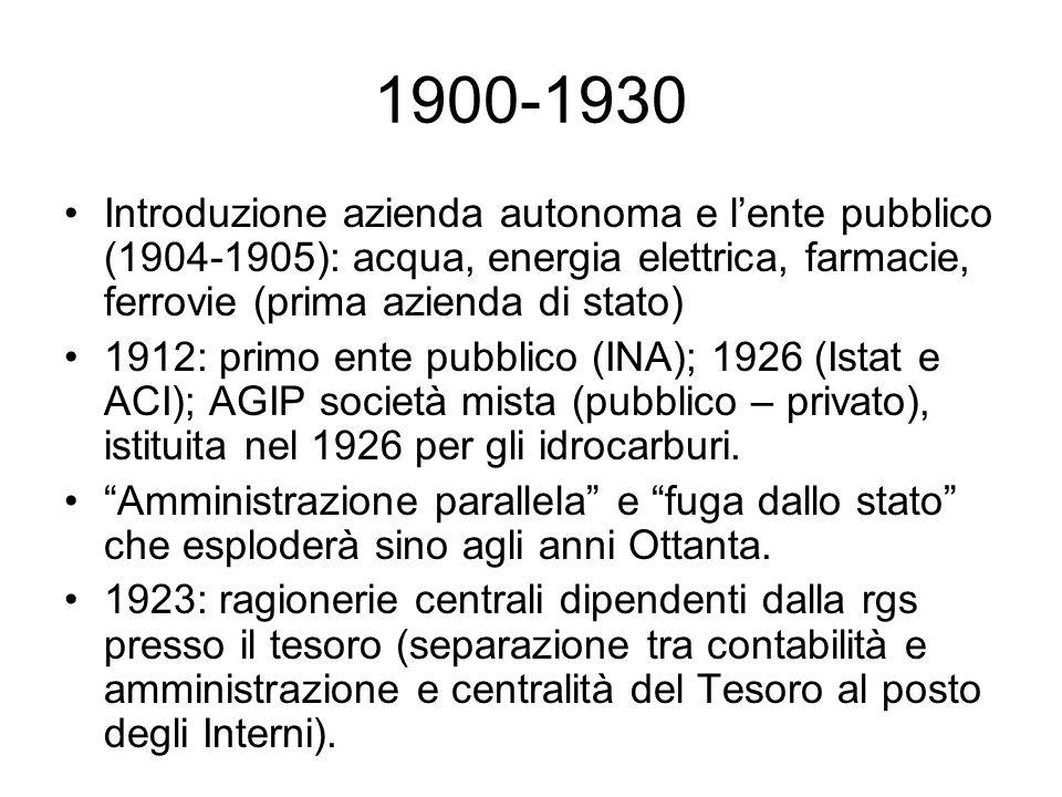 1900-1930 Introduzione azienda autonoma e l'ente pubblico (1904-1905): acqua, energia elettrica, farmacie, ferrovie (prima azienda di stato) 1912: primo ente pubblico (INA); 1926 (Istat e ACI); AGIP società mista (pubblico – privato), istituita nel 1926 per gli idrocarburi.