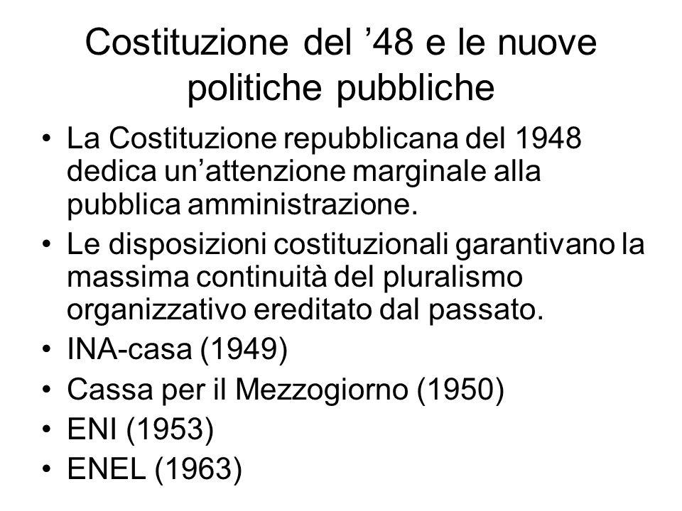 Costituzione del '48 e le nuove politiche pubbliche La Costituzione repubblicana del 1948 dedica un'attenzione marginale alla pubblica amministrazione.