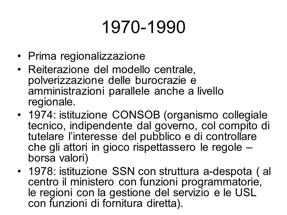 1970-1990 Prima regionalizzazione Reiterazione del modello centrale, polverizzazione delle burocrazie e amministrazioni parallele anche a livello regionale.