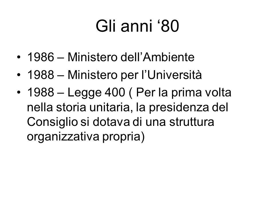 Gli anni '80 1986 – Ministero dell'Ambiente 1988 – Ministero per l'Università 1988 – Legge 400 ( Per la prima volta nella storia unitaria, la presidenza del Consiglio si dotava di una struttura organizzativa propria)