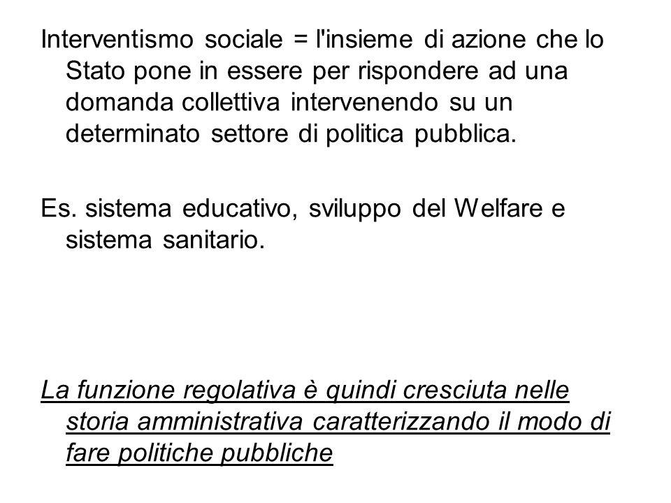 Interventismo sociale = l insieme di azione che lo Stato pone in essere per rispondere ad una domanda collettiva intervenendo su un determinato settore di politica pubblica.