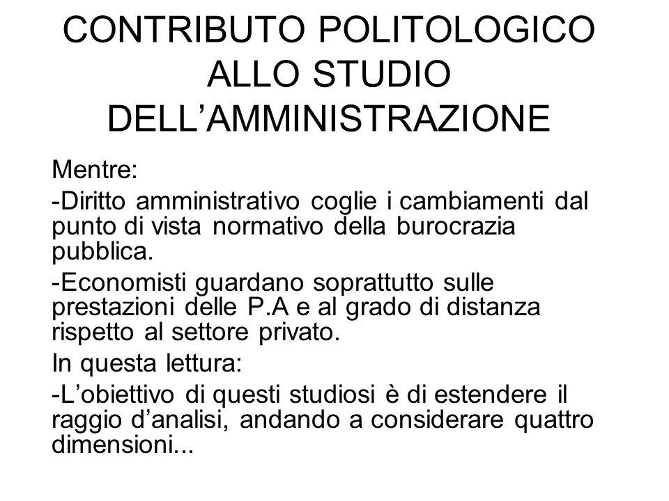 CONTRIBUTO POLITOLOGICO ALLO STUDIO DELL'AMMINISTRAZIONE Mentre: -Diritto amministrativo coglie i cambiamenti dal punto di vista normativo della burocrazia pubblica.