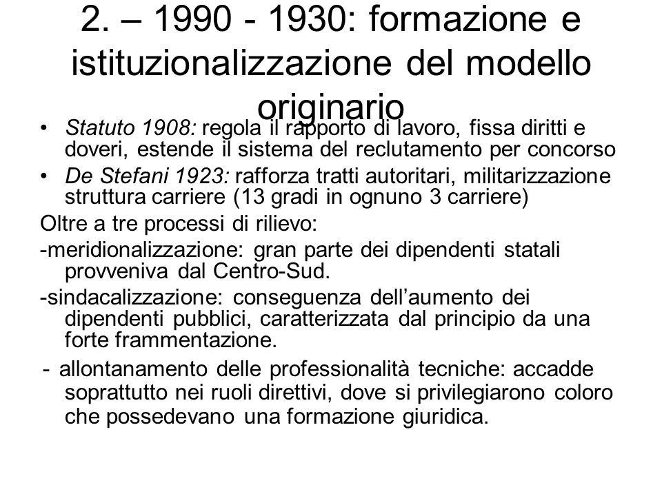 2. – 1990 - 1930: formazione e istituzionalizzazione del modello originario Statuto 1908: regola il rapporto di lavoro, fissa diritti e doveri, estend