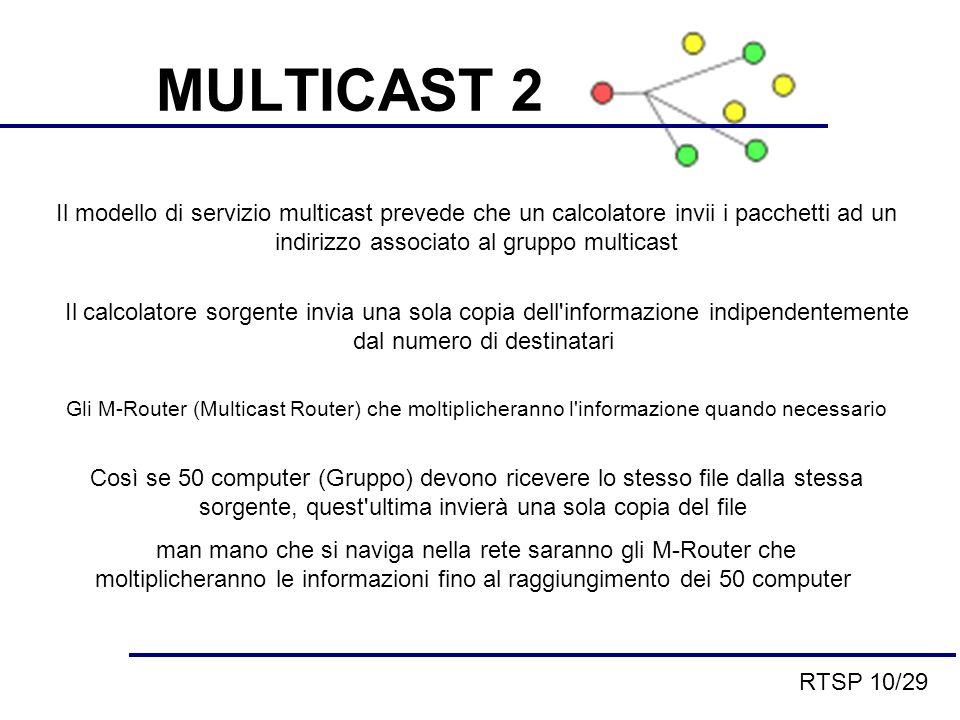 Il modello di servizio multicast prevede che un calcolatore invii i pacchetti ad un indirizzo associato al gruppo multicast Il calcolatore sorgente invia una sola copia dell informazione indipendentemente dal numero di destinatari Gli M-Router (Multicast Router) che moltiplicheranno l informazione quando necessario Così se 50 computer (Gruppo) devono ricevere lo stesso file dalla stessa sorgente, quest ultima invierà una sola copia del file man mano che si naviga nella rete saranno gli M-Router che moltiplicheranno le informazioni fino al raggiungimento dei 50 computer MULTICAST 2 RTSP 10/29