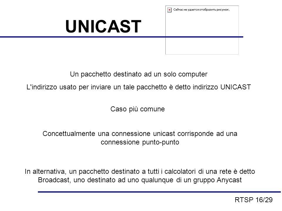 UNICAST Un pacchetto destinato ad un solo computer L indirizzo usato per inviare un tale pacchetto è detto indirizzo UNICAST Caso più comune Concettualmente una connessione unicast corrisponde ad una connessione punto-punto In alternativa, un pacchetto destinato a tutti i calcolatori di una rete è detto Broadcast, uno destinato ad uno qualunque di un gruppo Anycast RTSP 16/29