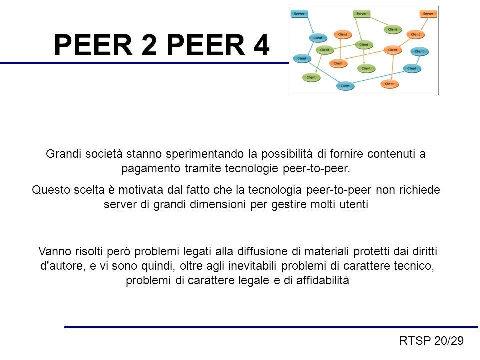 PEER 2 PEER 4 Grandi società stanno sperimentando la possibilità di fornire contenuti a pagamento tramite tecnologie peer-to-peer.