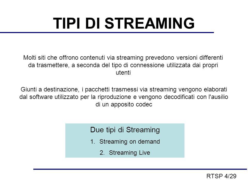 TIPI DI STREAMING Molti siti che offrono contenuti via streaming prevedono versioni differenti da trasmettere, a seconda del tipo di connessione utilizzata dai propri utenti Giunti a destinazione, i pacchetti trasmessi via streaming vengono elaborati dal software utilizzato per la riproduzione e vengono decodificati con l ausilio di un apposito codec Due tipi di Streaming 1.Streaming on demand 2.Streaming Live RTSP 4/29