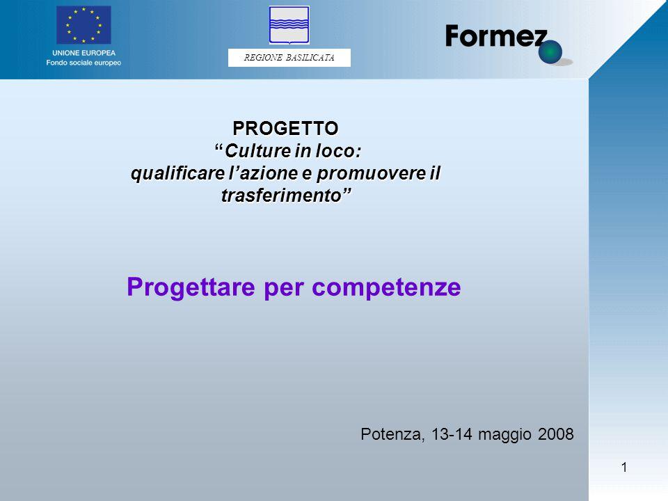 REGIONE BASILICATA 1 Progettare per competenze Potenza, 13-14 maggio 2008 PROGETTO Culture in loco: Culture in loco: qualificare l'azione e promuovere il trasferimento