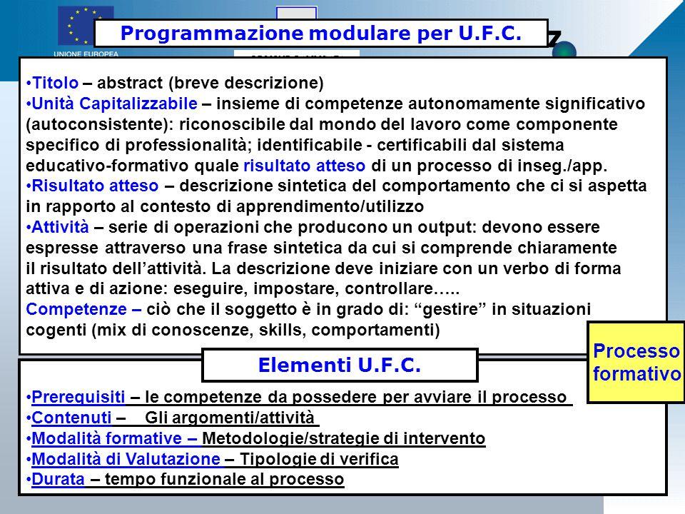 REGIONE BASILICATA 61 Programmazione modulare per U.F.C.