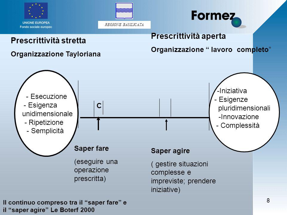 REGIONE BASILICATA 9 L'approccio sistemico di Le Boterf sapere in azione dato dalla mobilitazione di componenti e/o risorse personali.