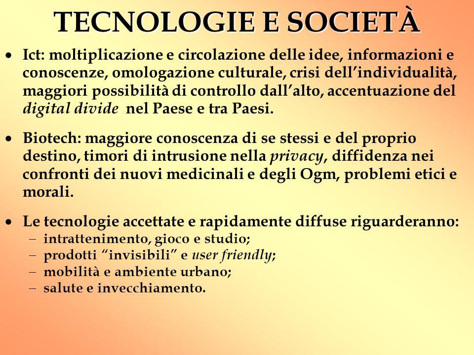 TECNOLOGIE E SOCIETÀ  Ict: moltiplicazione e circolazione delle idee, informazioni e conoscenze, omologazione culturale, crisi dell'individualità, ma
