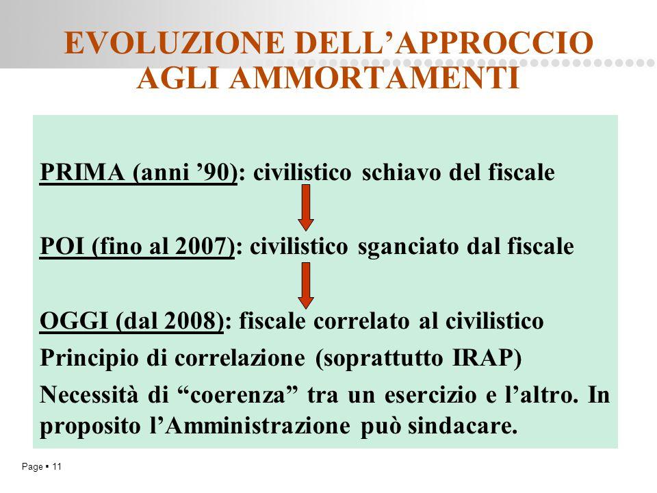 Page  11 EVOLUZIONE DELL'APPROCCIO AGLI AMMORTAMENTI PRIMA (anni '90): civilistico schiavo del fiscale POI (fino al 2007): civilistico sganciato dal