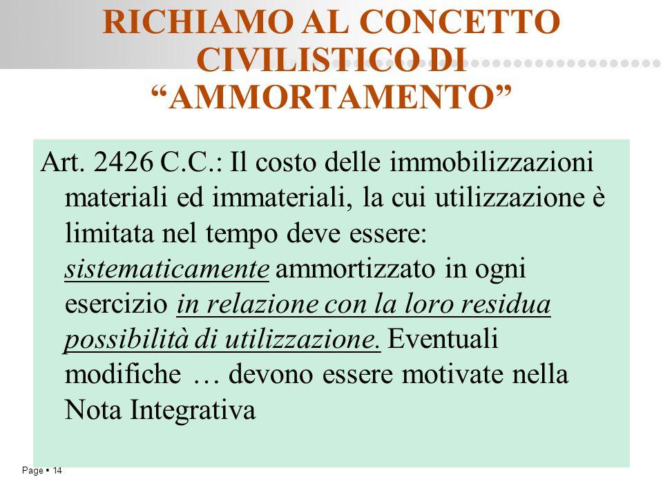"""Page  14 RICHIAMO AL CONCETTO CIVILISTICO DI """"AMMORTAMENTO"""" Art. 2426 C.C.: Il costo delle immobilizzazioni materiali ed immateriali, la cui utilizza"""