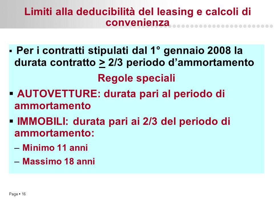 Page  16 Limiti alla deducibilità del leasing e calcoli di convenienza  Per i contratti stipulati dal 1° gennaio 2008 la durata contratto > 2/3 peri