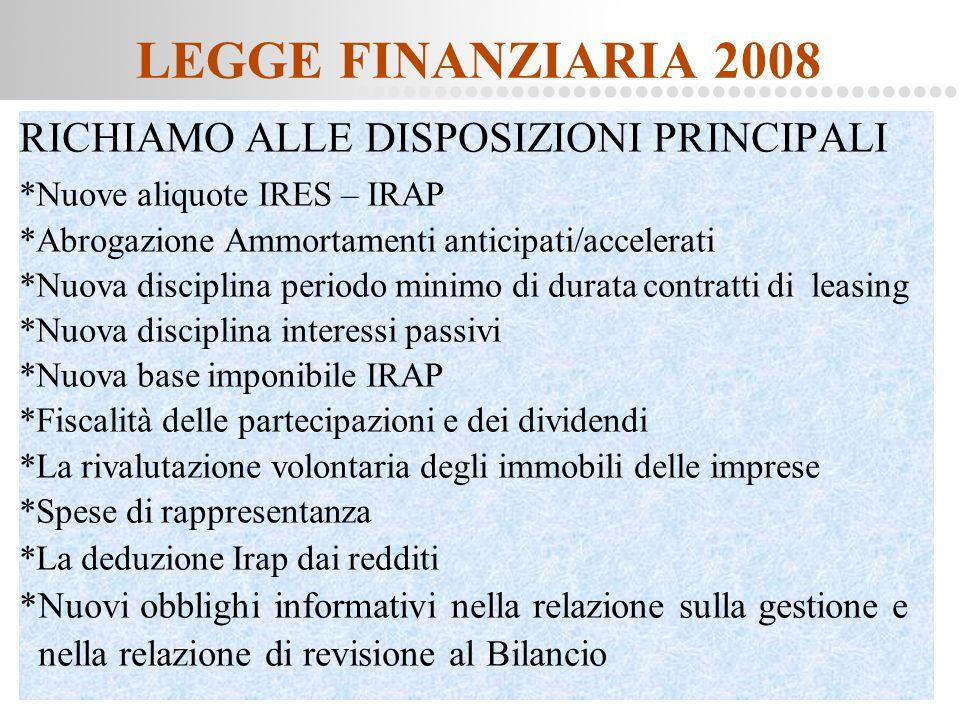 Page  2 LEGGE FINANZIARIA 2008 RICHIAMO ALLE DISPOSIZIONI PRINCIPALI *Nuove aliquote IRES – IRAP *Abrogazione Ammortamenti anticipati/accelerati *Nuo