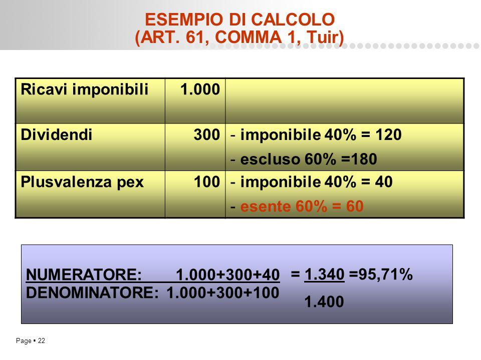 Page  22 ESEMPIO DI CALCOLO (ART. 61, COMMA 1, Tuir) Ricavi imponibili1.000 Dividendi300- imponibile 40% = 120 - escluso 60% =180 Plusvalenza pex100-