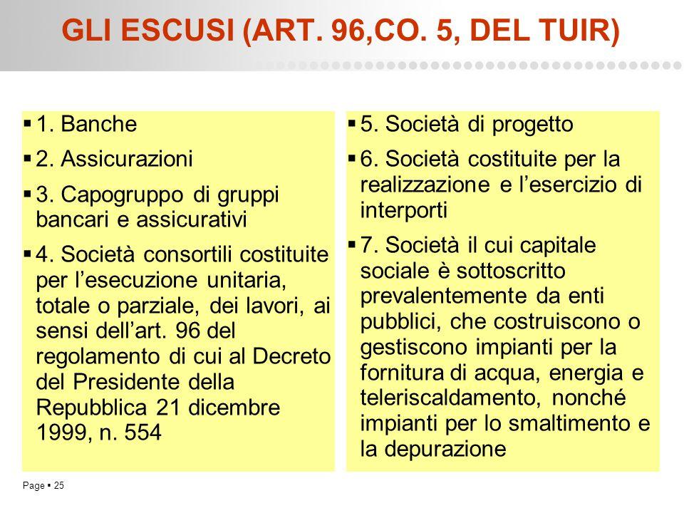 Page  25 GLI ESCUSI (ART. 96,CO. 5, DEL TUIR)  1. Banche  2. Assicurazioni  3. Capogruppo di gruppi bancari e assicurativi  4. Società consortili