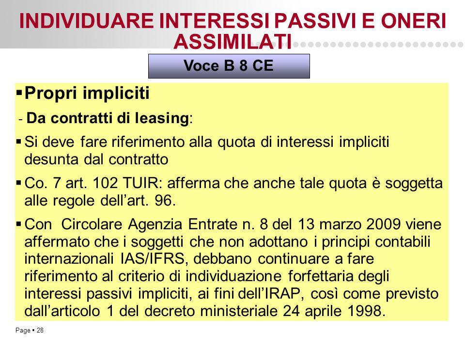 Page  28 INDIVIDUARE INTERESSI PASSIVI E ONERI ASSIMILATI  Propri impliciti - Da contratti di leasing:  Si deve fare riferimento alla quota di inte