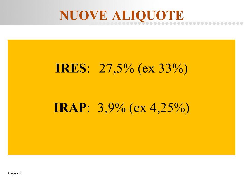 Page  3 NUOVE ALIQUOTE IRES:27,5% (ex 33%) IRAP:3,9% (ex 4,25%)