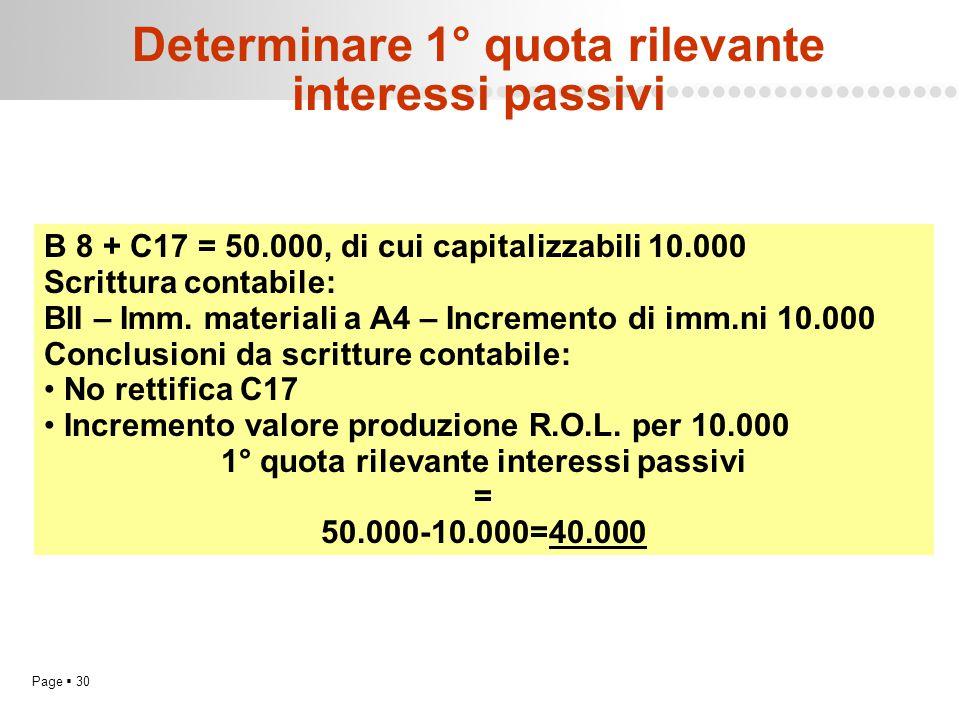 Page  30 Determinare 1° quota rilevante interessi passivi B 8 + C17 = 50.000, di cui capitalizzabili 10.000 Scrittura contabile: BII – Imm. materiali