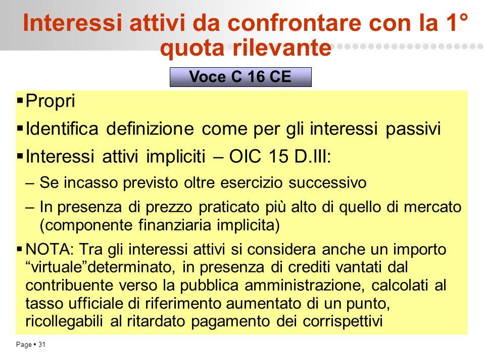 Page  31 Interessi attivi da confrontare con la 1° quota rilevante  Propri  Identifica definizione come per gli interessi passivi  Interessi attiv