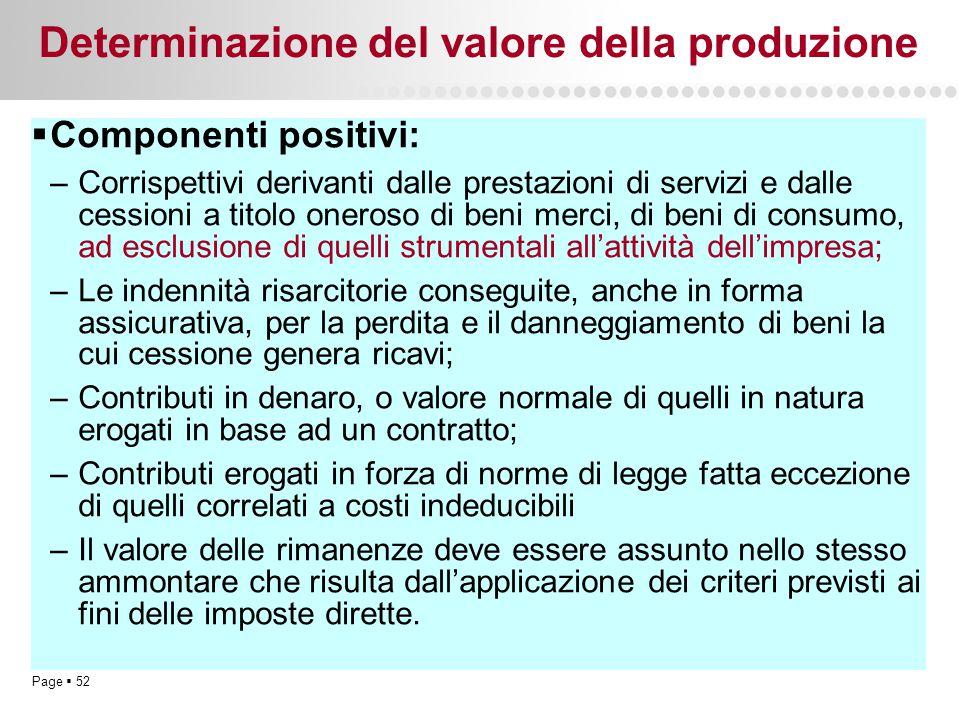 Page  52 Determinazione del valore della produzione  Componenti positivi: –Corrispettivi derivanti dalle prestazioni di servizi e dalle cessioni a t