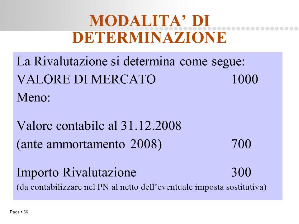 Page  66 MODALITA' DI DETERMINAZIONE La Rivalutazione si determina come segue: VALORE DI MERCATO1000 Meno: Valore contabile al 31.12.2008 (ante ammor