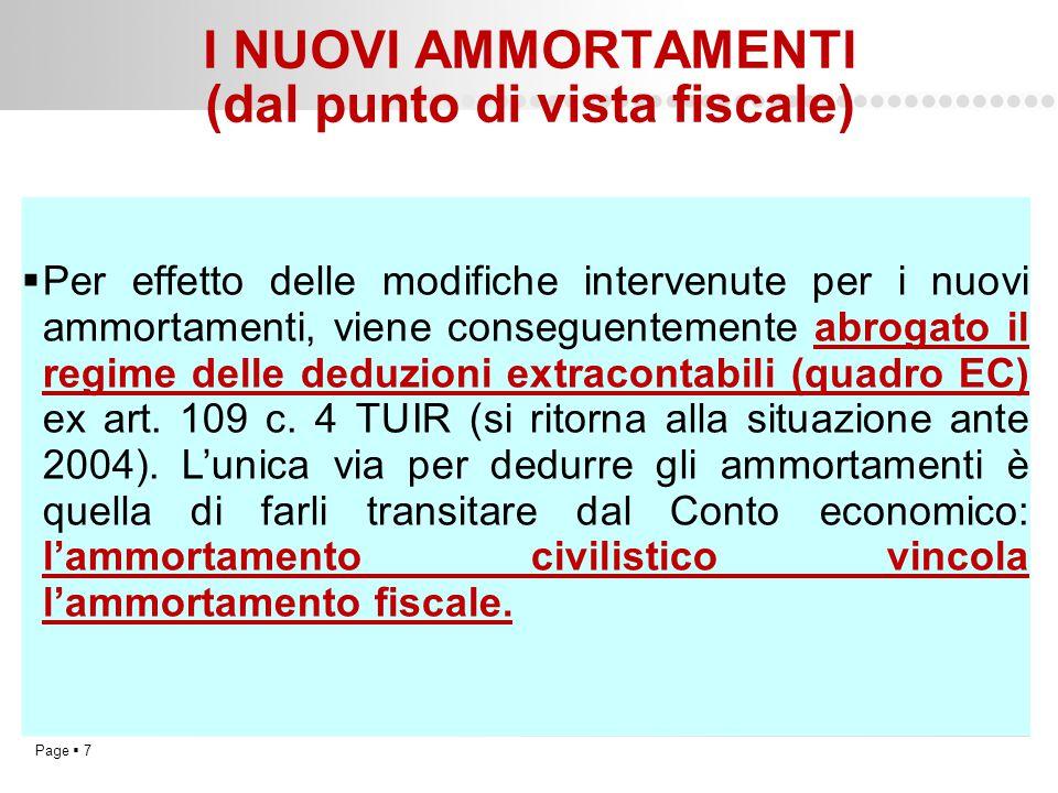 Page  7 I NUOVI AMMORTAMENTI (dal punto di vista fiscale)  Per effetto delle modifiche intervenute per i nuovi ammortamenti, viene conseguentemente