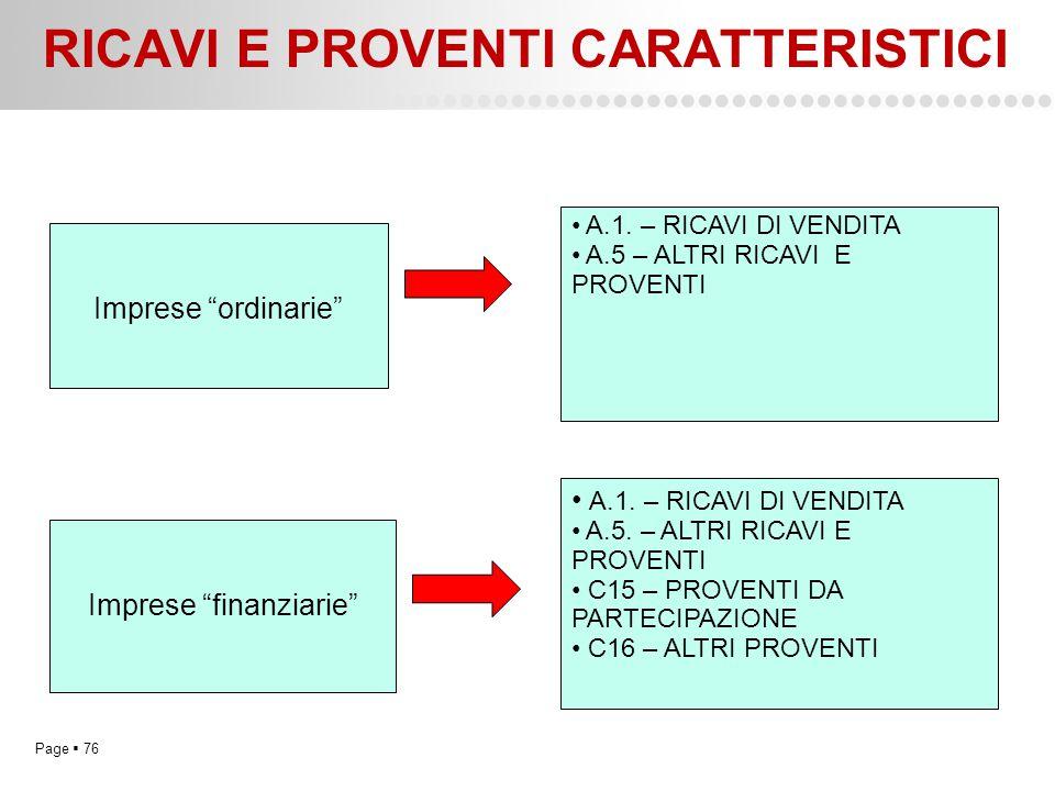 """Page  76 RICAVI E PROVENTI CARATTERISTICI Imprese """"ordinarie"""" Imprese """"finanziarie"""" A.1. – RICAVI DI VENDITA A.5 – ALTRI RICAVI E PROVENTI A.1. – RIC"""