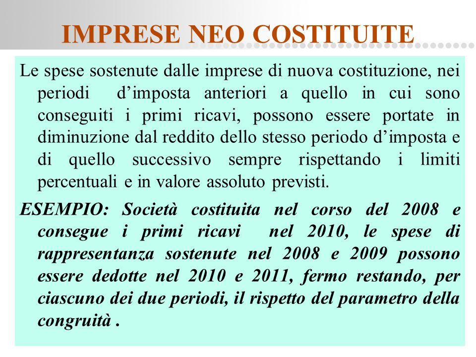 Page  77 IMPRESE NEO COSTITUITE Le spese sostenute dalle imprese di nuova costituzione, nei periodi d'imposta anteriori a quello in cui sono consegui