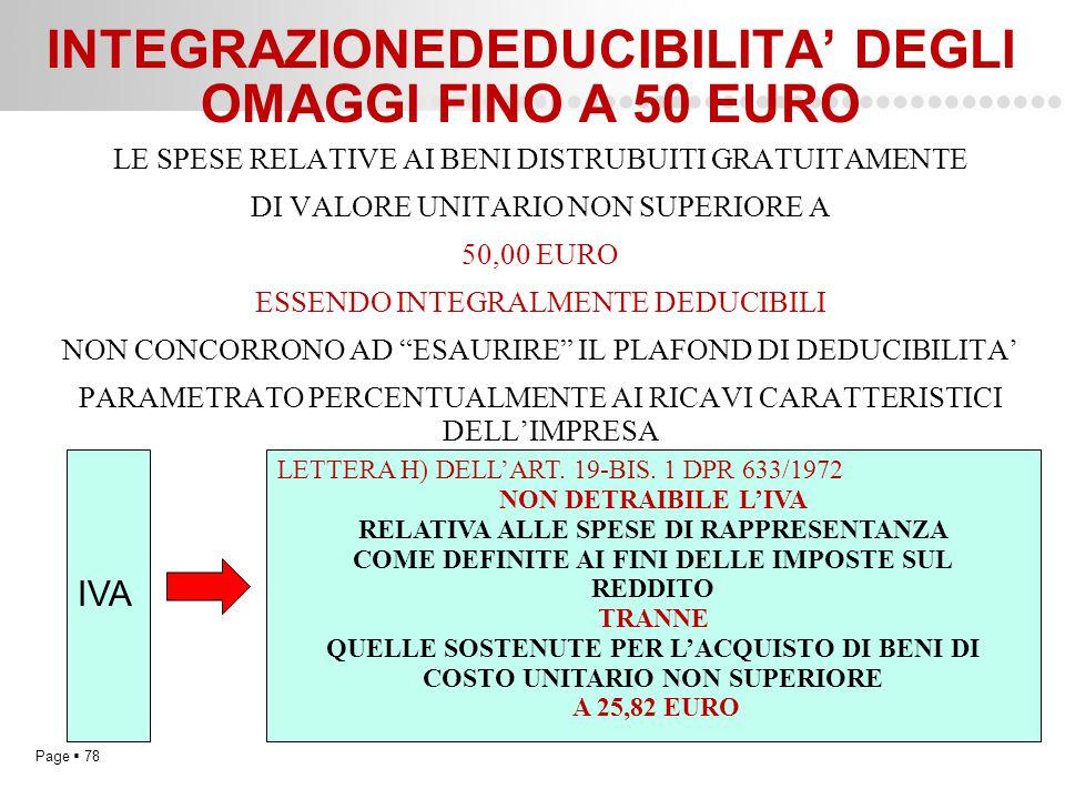 Page  78 INTEGRAZIONEDEDUCIBILITA' DEGLI OMAGGI FINO A 50 EURO LE SPESE RELATIVE AI BENI DISTRUBUITI GRATUITAMENTE DI VALORE UNITARIO NON SUPERIORE A