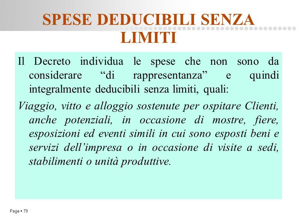 """Page  79 SPESE DEDUCIBILI SENZA LIMITI Il Decreto individua le spese che non sono da considerare """"di rappresentanza"""" e quindi integralmente deducibil"""