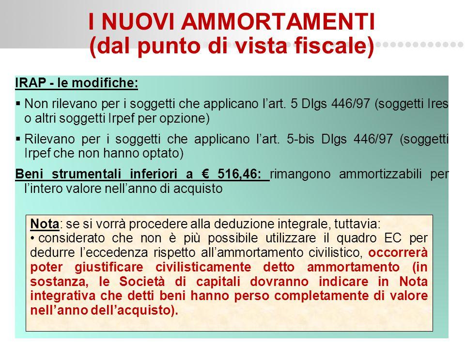 Page  9 I NUOVI AMMORTAMENTI (dal punto di vista fiscale) IRAP - le modifiche:  Non rilevano per i soggetti che applicano l'art. 5 Dlgs 446/97 (sogg