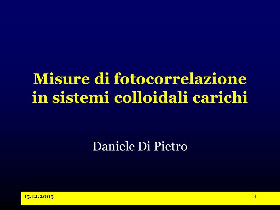 15.12.20051 Misure di fotocorrelazione in sistemi colloidali carichi Daniele Di Pietro