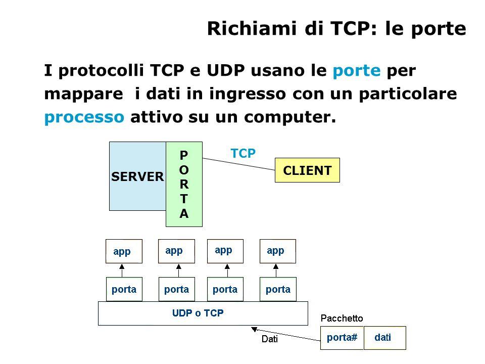 Richiami di TCP: le porte I protocolli TCP e UDP usano le porte per mappare i dati in ingresso con un particolare processo attivo su un computer.
