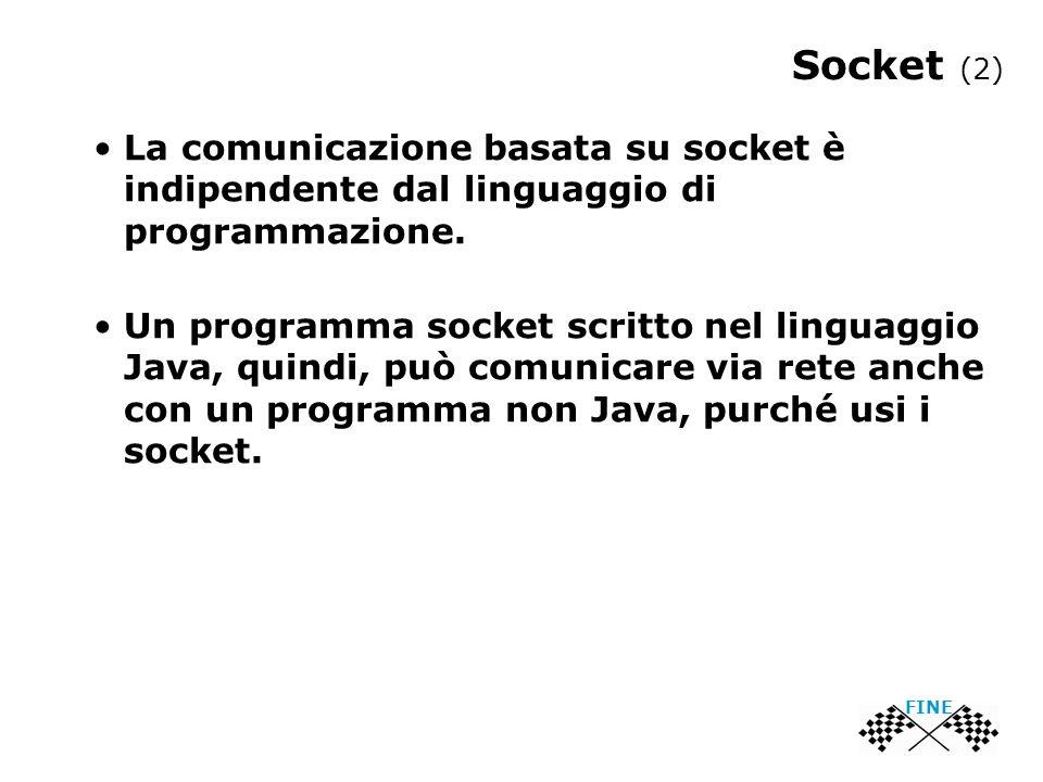 Socket (2) FINE La comunicazione basata su socket è indipendente dal linguaggio di programmazione.