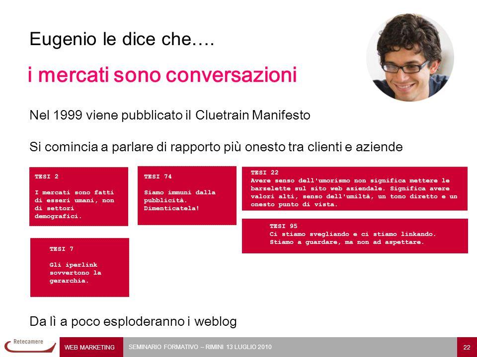 WEB MARKETING 22 SEMINARIO FORMATIVO – RIMINI 13 LUGLIO 2010 Eugenio le dice che….