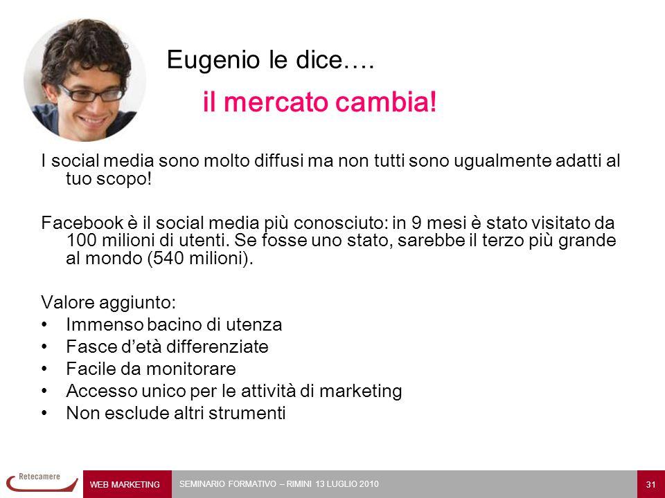 WEB MARKETING 31 SEMINARIO FORMATIVO – RIMINI 13 LUGLIO 2010 il mercato cambia.