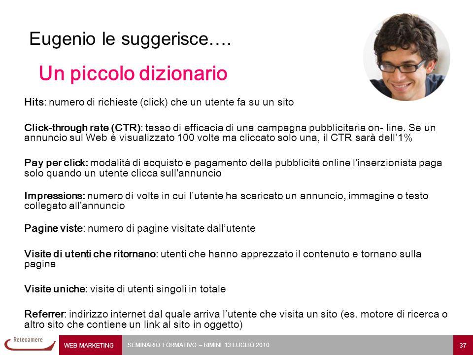 WEB MARKETING 37 SEMINARIO FORMATIVO – RIMINI 13 LUGLIO 2010 Eugenio le suggerisce…. Hits: numero di richieste (click) che un utente fa su un sito Cli