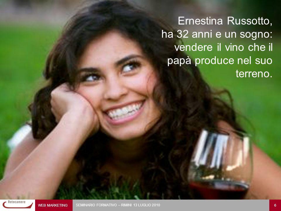 WEB MARKETING 6 SEMINARIO FORMATIVO – RIMINI 13 LUGLIO 2010 Ernestina Russotto, ha 32 anni e un sogno: vendere il vino che il papà produce nel suo terreno.