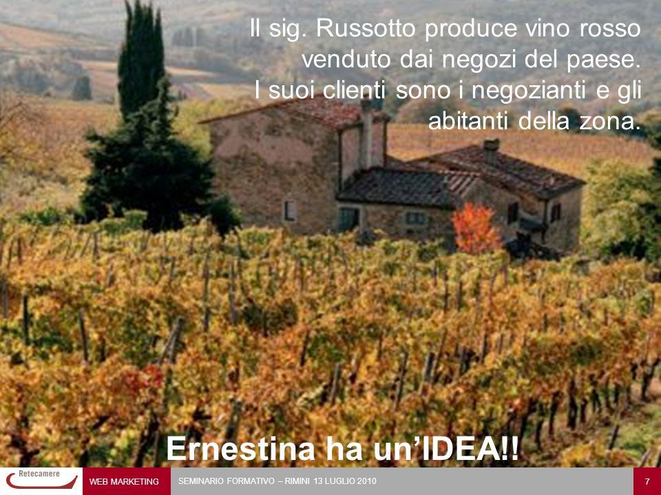 WEB MARKETING 7 SEMINARIO FORMATIVO – RIMINI 13 LUGLIO 2010 Il sig. Russotto produce vino rosso venduto dai negozi del paese. I suoi clienti sono i ne