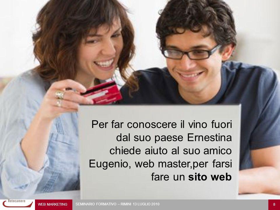 WEB MARKETING 8 SEMINARIO FORMATIVO – RIMINI 13 LUGLIO 2010 Per far conoscere il vino fuori dal suo paese Ernestina chiede aiuto al suo amico Eugenio, web master,per farsi fare un sito web