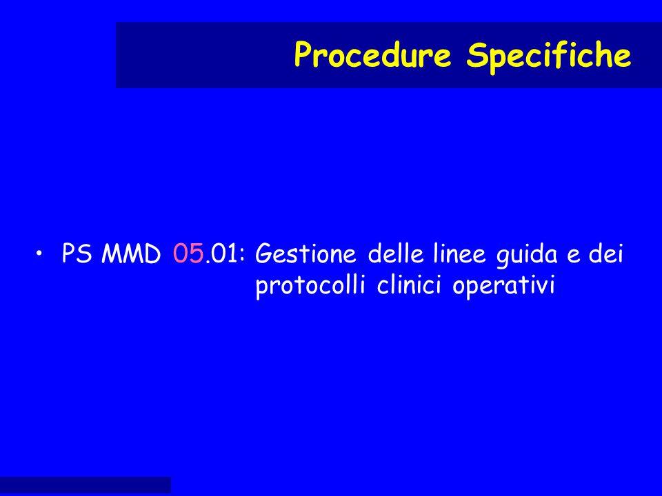PS MMD 05.01:Gestione delle linee guida e dei protocolli clinici operativi Procedure Specifiche